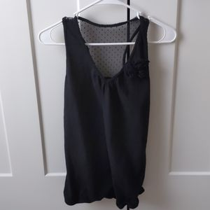 Maurice's Black Tank Top with Fabric Flower Detail